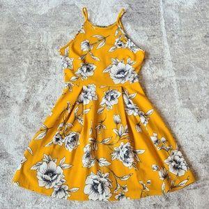 Soprano Yellow White Print Skater Dress Size M